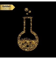 Gold glitter icon of beaker isolated on vector image