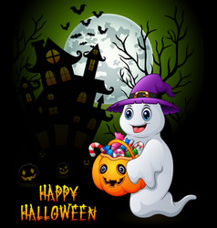 halloween background with ghost holding full of ca vector image