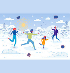 happy family play snowball in park on winter day vector image