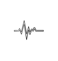 heatbeat trace on cardiogram hand drawn outline vector image