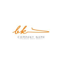 Initial letter bk logo - handwritten signature vector