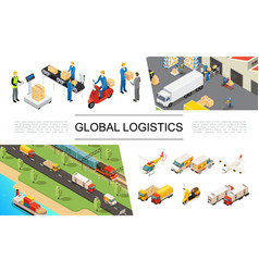 isometric global logistics elements set vector image