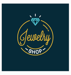 jewelry shop logo round linear jewelry store vector image