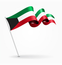 Kuwait pin wavy flag vector