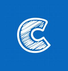 Letter c logo on blueprint paper background vector