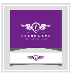 Letter i pin map wing logo design concept vector