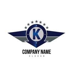 letter k shield logo vector image