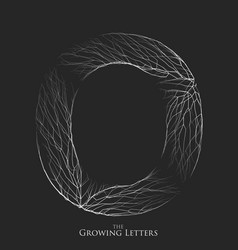 Letter o of branch or cracked alphabet o vector