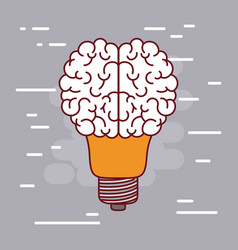 light bulb silhouette with brain shape on top with vector image