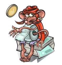 Little mouse who sells tickets for the bus vector image