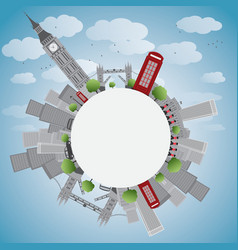 London panorama with big ben and skyscrapers vector image
