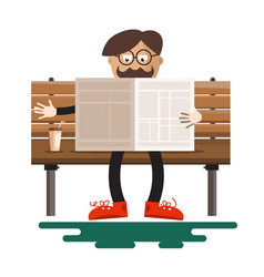 Man reading newspapers on bench with coffee in vector