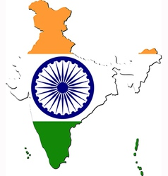 Map of India with national flag vector image vector image