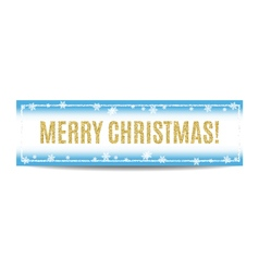 Merry Christmas banner golden text and snowflakes vector image