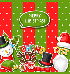 merry christmas card with photo booth stickers vector image