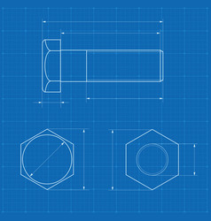 Metal bolt technical drawing on blueprint vector