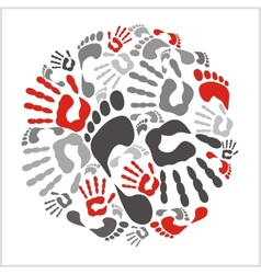 Mixed handprints and footprints vector