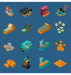 Money Manufacturing Isometric Icons vector