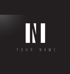 ni letter logo with black and white negative vector image