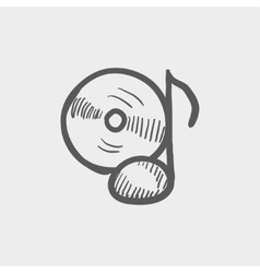 Note with phonograph record sketch icon vector