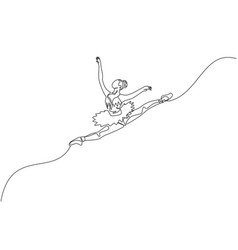 one continuous line drawing young graceful vector image