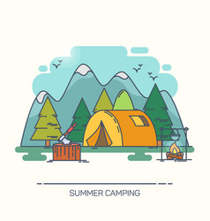 outdoor view on camp in forest or wood vector image