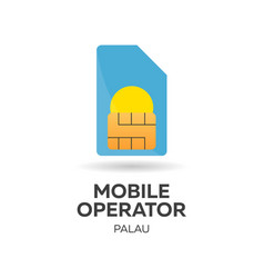 Palau mobile operator sim card with flag vector
