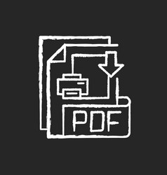 pdf file chalk white icon on black background vector image