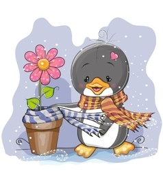 Penguin and a flower vector