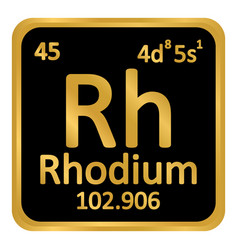 Periodic table element rhodium icon vector