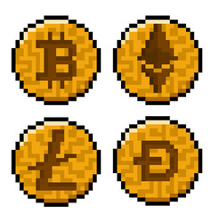 Pixel cryptocurrency pack vector