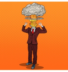 Pop Art Stressed Businessman with Explosion Head vector