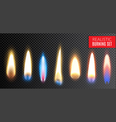 realistic burning transparent icon set vector image