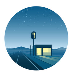 Road diner at night round icon vector