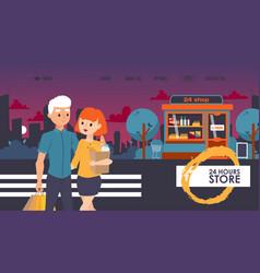 Round-the-clock shop website vector