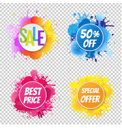 sale banner with color text with blobs vector image