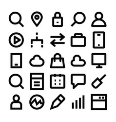 Seo and marketing line icons 3 vector