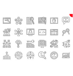 Seo thin line related icons set vector