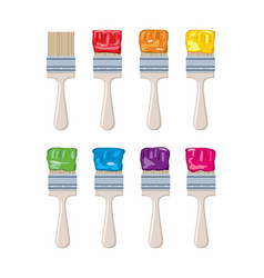 set artist colorful paint brushes vector image