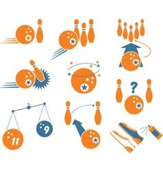 set bowling icons vector image