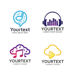 set of logos and icons of music and audio vector image