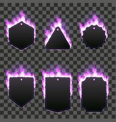 set of six frames surrounded with purple flame vector image