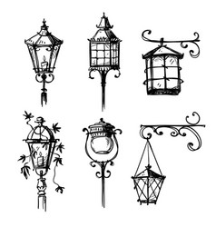 set old hand drawn street lamps vector image