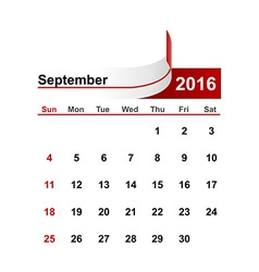 Simple calendar 2016 year september month vector