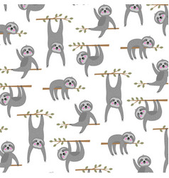 sloth pattern on white background vector image