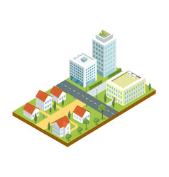 Small town quarter isometric icon vector