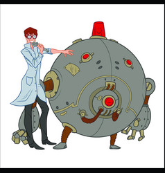 Smiling scientist standing next to the round robot vector