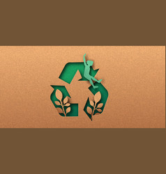 social recycling papercut concept recycle icon vector image