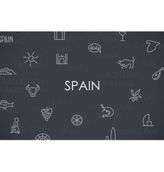 Spain Thin Line Icons vector