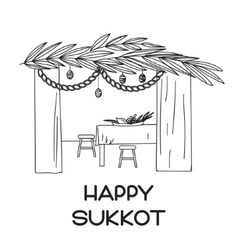 Sukkah with table food and Sukkot symbols vector